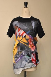 50%OFF!! セール!! KOCHE コシェ  MOTOCROSS PRINT APPLIQUE  Tシャツ  col.BLACK