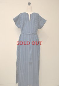 Cristaseya クリスタセヤ  #02A-BBS caftan with fringes フリンジ カフタン  col.blue navy stripes