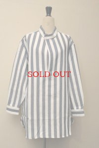 Cristaseya  #07EN-S japanese striped cotton pocket tunic  col.white×navy
