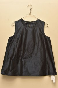 n100 Italian Silk Taffeta / Crew Neck Top   col.navy