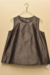 n100 Italian Silk Taffeta / Crew Neck Top   col.med.grey