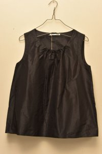 n100 Italian Silk Taffeta / Gathered Top   col.black