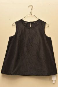 n100 Italian Silk Taffeta / Crew Neck Top   col.black