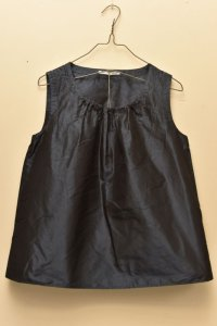 n100 Italian Silk Taffeta / Gathered Top   col.navy