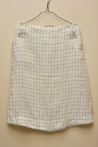 n100/エヌワンハンドレッド Irish linen Windowpane/ Button Sailor Skirt   col.white×blue