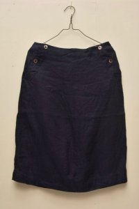 n100/エヌワンハンドレッド Irish Linen Suiting/ Button Sailor Skirt   col.navy