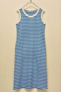 n100/エヌワンハンドレッド Cotton Border /Sleeveless Dress    col. ecru/sailor blue