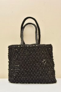 sophie digard MEDIUM WAXED LINEN BAG  col.NOIR
