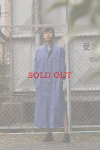 Cristaseya   #01SP-BS HAND MADE MAXI MAO SHIRT WITH FRINGED COLLAR  col.BLUE STRIPES