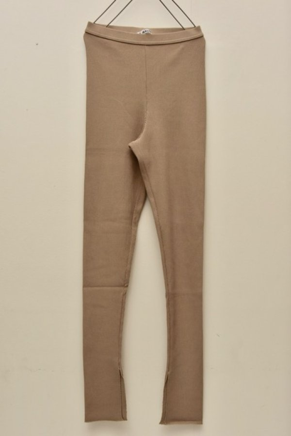 画像1: AURALEE HIGH GAUGE RIB SLIT TIGHTS 【A00T01TE】col.KHAKI BEIGE