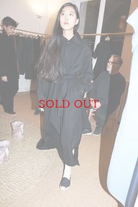 Cristaseya  #03EE JAPANESE DUBLE WOOL COAT DRESS WITH MAXI COLLAR  col.BLACK