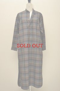AURALEE SUPER LIGHT WOOL CHECK ONE-PIECE 【A8AD02LC】col.BROWN CHECK