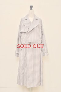 "AURALEE  ""FIX WEATHER CLOTH CHECK BIG TRENCH COAT""  【A9SC02WC】 col, IVIRY CHECK"