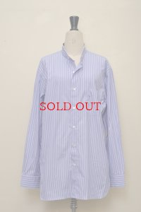 Cristaseya  #06SP-DWS HAND MADE MAO SHIRT WITH FRINGED COLLOR II  col.DOUBLE WHITE STRIPES ON BLUE