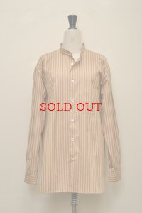 Cristaseya  #10TW-OS STRIPED COTTON MAO SHIRT III col.OCHER STRIPES