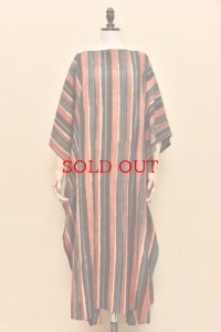 Cristaseya   #11IND COTTON INDIGO DYED HANDWOVEN CAFTAN   col.RED, BLUE, BEIGE STRIPES