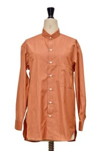 "Cristaseya  #02SP-ORS COTTON  ""HANDMADE POPELINE MAO SHIRT WITH FRINGED COLLAR ""  col.ORANGE STRIPE"