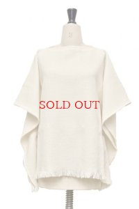 Cristaseya   HANDWOVEN FRINGED LARGE PONCHO  col.WHITE