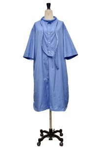 "Cristaseya  #17H-C-BL ""LIGHT COTTON  CAFTAN WITH PADDED COLLAR""  col.LIGHT BLUE"