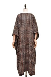 Cristaseya   #11IND COTTON INDIGO DYED HANDWOVEN CAFTAN   col.INDIGO&RED SMALL CHECK
