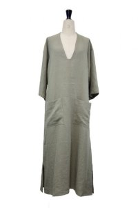 Cristaseya   #05EF-K LINEN SUMMER DRESS   col.KAKI