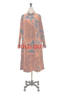 "SUZUSAN  ""Corduroy Long Sleeve Front Button Dress""  7012CP-01 col.Dark Blue/Dark Orange"