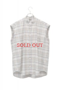 AURALEE  オーラリー  SUPER LIGHT WOOL CHECK SLEEVELESS SHIRTS【A9SS04LC】col.WHITE CHECK