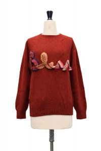 "BLESS  N°68  "" Without Words BLESS logoknit "" col.dirty red2 / multirainbowcolors"