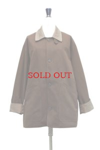Cristaseya   COTTON OVERSIZED BLOUSON WITH LEATHER PATCH   col.BROWN/KHAKI