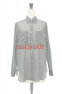 """AURALEE  """"WOOL RECYCLE POLYESTER SHEER CLOTH SHIRT""""【A21SS01RM】col. DARK GREEN"""