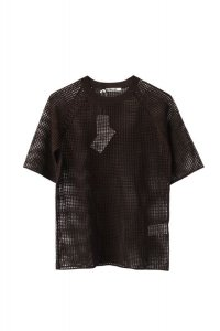 "AURALEE  ""SUPER HARD TWIST LINEN MESH KNIT TEE""【A21ST02MR】col. DARK BROWN"