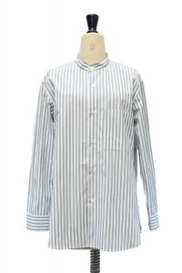 Cristaseya Japanese Striped Cotton Mao Shirt col.White with Blue Stripes