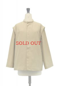 Cristaseya  Japanese Cotton&Linen Padded Jacket col.Khaki