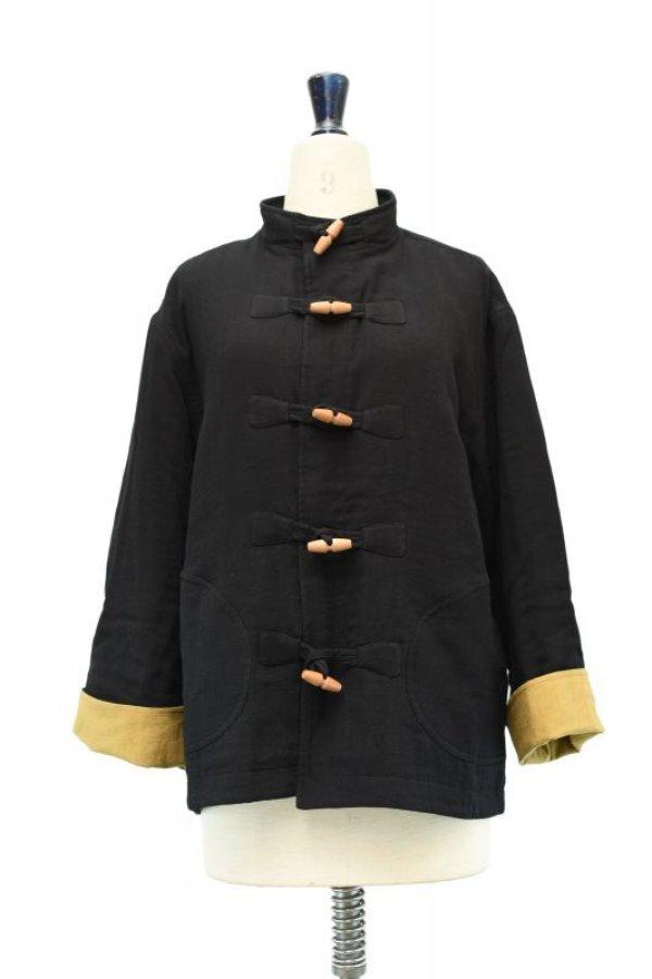 画像1: Cristaseya  Japanese Triple Gauze Patched Jacket col.Black