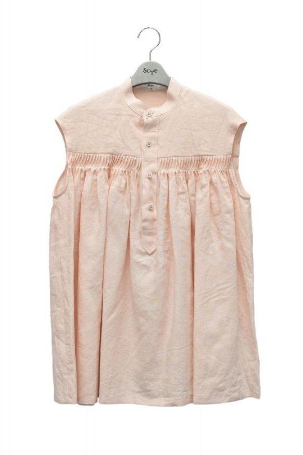 画像1: Scye  Linen Pintucked Sleeveless Shirt  リネン高密度タックノースリーブシャツ  col.ペールピンク  ※ Scye オリジナル ハンガー 付き