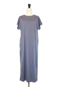 ATON  SUVIN 60/2 CAP SLEEVE DRESS  col. BLUE GRAY