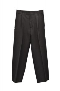 Cristaseya   35H-BIS-CRE-SA  JAPANESE CREPE WOOL PLEATED CROPPED TROUSERS  col.BLACK
