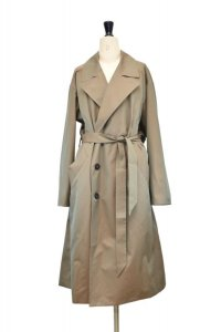 Cristaseya  02NC-CO-PE  JAPANESE TWILL COTTON DOUBLE BREASTED TRENCH WITH LEATER PATCH  col.PETROL