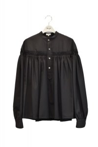 Scye  Washable Wool Tropical Tuck Half Placket Blouse  col.ブラック  ※ Scye オリジナル ハンガー 付き