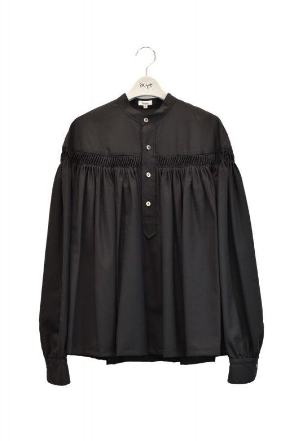 画像1: Scye  Washable Wool Tropical Tuck Half Placket Blouse  col.ブラック  ※ Scye オリジナル ハンガー 付き