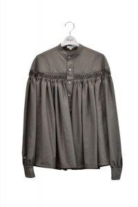Scye  Washable Wool Tropical Tuck Half Placket Blouse  col.ダークオリーブ  ※ Scye オリジナル ハンガー 付き