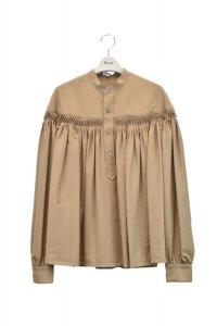 Scye  Washable Wool Tropical Tuck Half Placket Blouse  col.キャメル  ※ Scye オリジナル ハンガー 付き